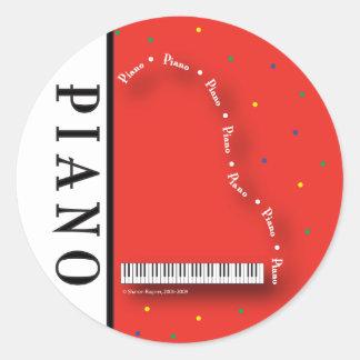 Pegatinas rojos del piano de cola pegatina redonda