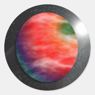 Pegatinas rojos del planeta etiqueta redonda