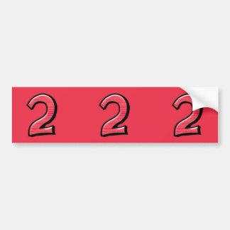 Pegatinas rojos del recorte del número 2 tontos pegatina de parachoque