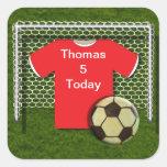 Pegatinas rojos del tema del fútbol del fútbol calcomania cuadradas