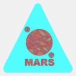 Pegatinas rojos del triángulo del arte del planeta pegatina triangular