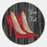 Pegatinas rojos del zapato del tacón alto pegatina redonda