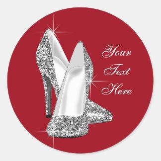 Pegatinas rojos del zapato del tacón alto del etiquetas redondas