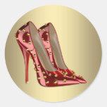 Pegatinas rojos del zapato del tacón alto del oro etiquetas redondas
