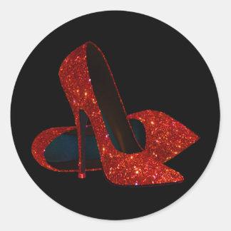 Pegatinas rojos elegantes del zapato del tacón pegatina redonda