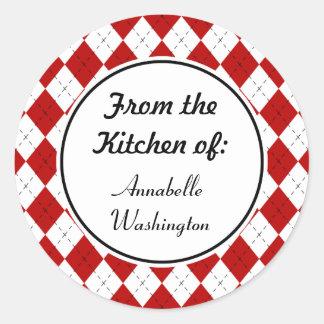 Pegatinas rojos personalizados de la cocina pegatina redonda