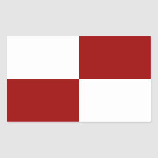 Pegatinas rojos y blancos de los rectángulos pegatina rectangular