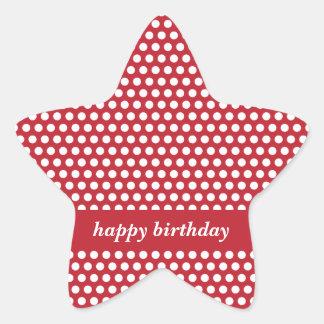 Pegatinas rojos y blancos del feliz cumpleaños de