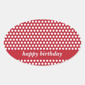 Pegatinas rojos y blancos del feliz cumpleaños de pegatina ovalada