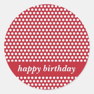 Pegatinas rojos y blancos del feliz cumpleaños de pegatina redonda