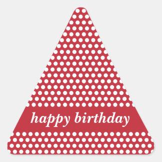 Pegatinas rojos y blancos del feliz cumpleaños de pegatina triangular