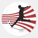 Pegatinas rojos y blancos del jugador de fútbol