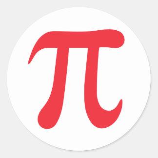 Pegatinas rojos y blancos del símbolo matemático pegatinas redondas