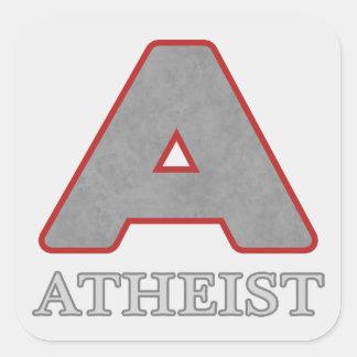 """Pegatinas rojos y grises del ateo """"A"""" Pegatina Cuadrada"""