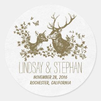 Pegatinas románticos del boda de los ciervos pegatina redonda