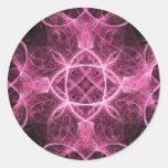 Pegatinas rosados apasionados del fractal pegatina redonda