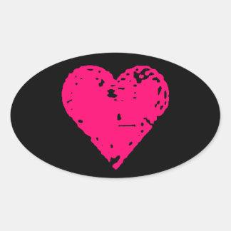Pegatinas rosados apenados del coche del corazón pegatina ovalada