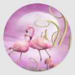 Pegatinas rosados caprichosos de los flamencos pegatina redonda