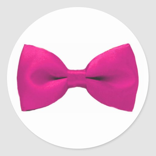 Pegatinas rosados de Bowtie Pegatina Redonda