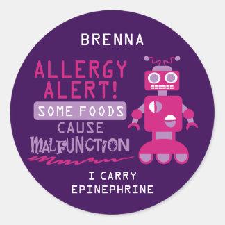 Pegatinas rosados de la alarma de la alergia pegatina redonda