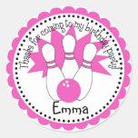Pegatinas rosados de la bola de bolos