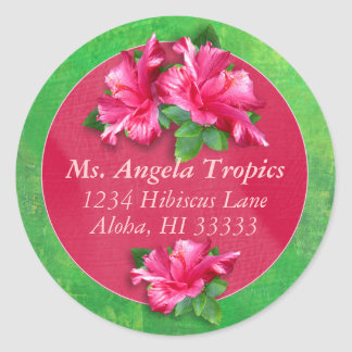 Pegatinas rosados de la dirección del hibisco pegatinas redondas