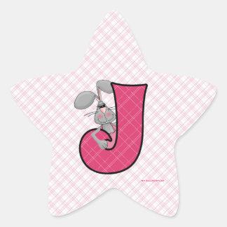 """Pegatinas rosados de la estrella del monograma """"J"""" Pegatina En Forma De Estrella"""