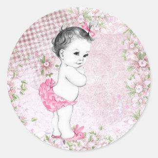 Pegatinas rosados de la fiesta de bienvenida al etiquetas redondas