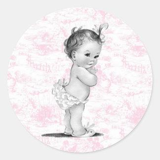 Pegatinas rosados de la fiesta de bienvenida al pegatinas redondas