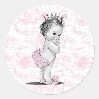 Pegatinas rosados de la fiesta de bienvenida al etiqueta redonda