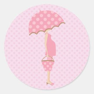 Pegatinas rosados de la fiesta de bienvenida al pegatina redonda
