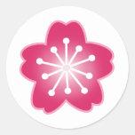 Pegatinas rosados de la flor de cerezo etiqueta redonda