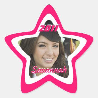 Pegatinas rosados de la foto de la graduación o pegatinas forma de estrella personalizadas