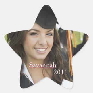 Pegatinas rosados de la foto de la graduación o pegatina en forma de estrella