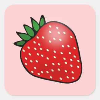 Pegatinas rosados de la fresa pegatina cuadrada