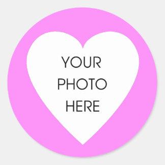 Pegatinas rosados de la frontera del corazón pegatinas redondas