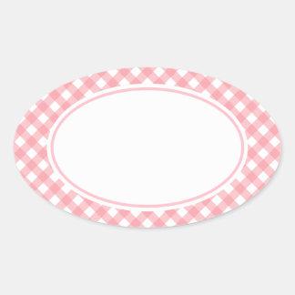 Pegatinas rosados de la guinga calcomanías ovales personalizadas