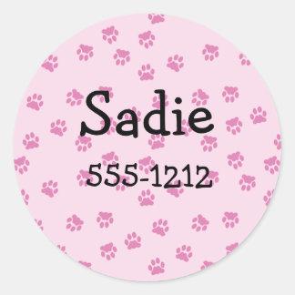 Pegatinas rosados de la impresión de la pata etiqueta redonda
