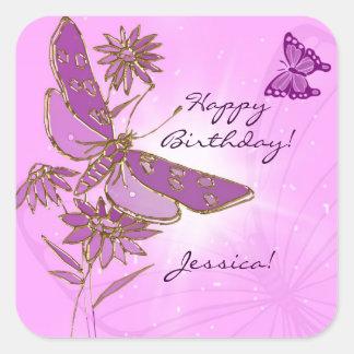 Pegatinas rosados de la mariposa pegatina cuadrada
