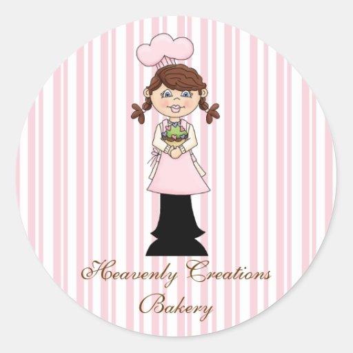Pegatinas rosados de la panadería del cocinero etiquetas redondas