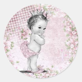 Pegatinas rosados de la princesa fiesta de bienven pegatinas redondas