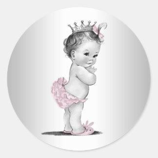 Pegatinas rosados de la princesa fiesta de bienven pegatina redonda