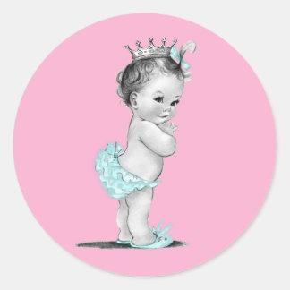 Pegatinas rosados de la princesa fiesta de bienven etiqueta redonda