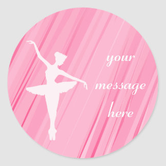 Pegatinas rosados de la silueta de la bailarina pegatina redonda