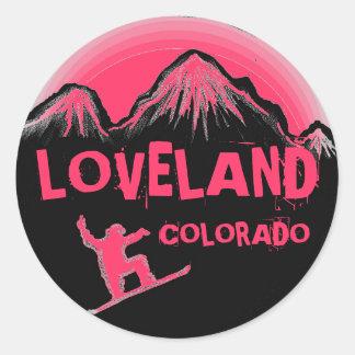 Pegatinas rosados de la snowboard de Loveland Colo
