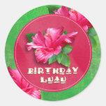 Pegatinas rosados de Luau del cumpleaños del Pegatinas Redondas