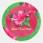 Pegatinas rosados de Luau del cumpleaños del Etiqueta Redonda