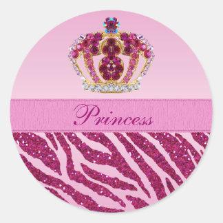 Pegatinas rosados de princesa Crown Zebra Glitter Pegatina Redonda