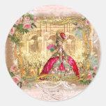 Pegatinas rosados de Versalles del fiesta de Marie Pegatina Redonda