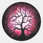 Pegatinas rosados del árbol del fantasma pegatina redonda